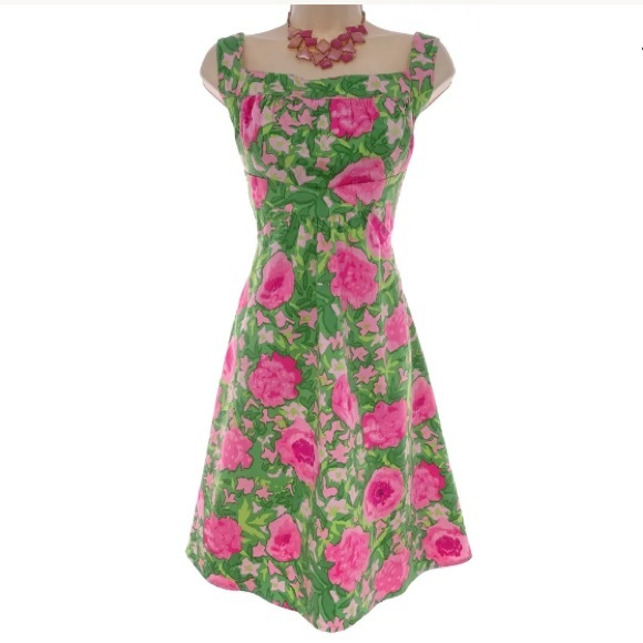 London Times Dresses   Skirts - 14 Large XL▫️PINK GREEN FLORAL COTTON  SUNDRESS 936a540c6